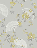 11572 Glitter Oriental Fan is a beautiful Grey / Green Trail Wallpaper from Holden Decor