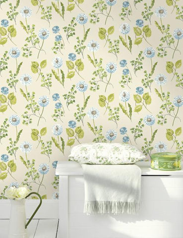 11780 Dandelion is a beautiful Cream / Green Floral Wallpaper from Holden Decor