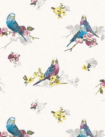 11821 Budgie is a beautiful Grey / Blue Bird Wallpaper from Holden Decor