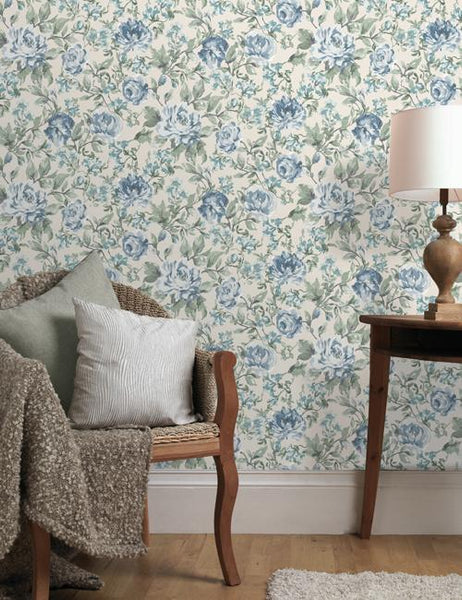 11831 Painterly Floral is a beautiful Cream / Blue Floral Wallpaper from Holden Decor