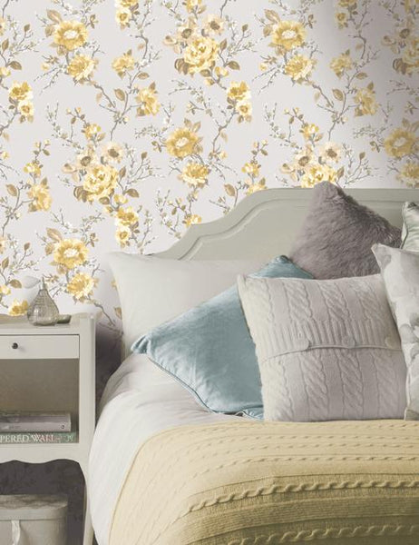 11920 Lucy is a beautiful Yellow / Duckegg Floral Wallpaper from Holden Decor
