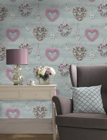 11942 Rosie is a beautiful Teal Conversational Wallpaper from Holden Decor