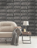 11971 Vintage Drawers is a beautiful Grey Vintage Wallpaper from Holden Decor