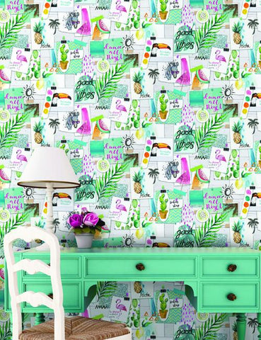 12150 Aloha is a beautiful White / Multi Collage Wallpaper from Holden Decor