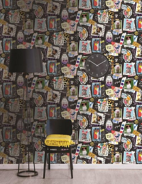 12220 Born to be Wild is a beautiful Black / Multi Conversational Wallpaper from Holden Decor
