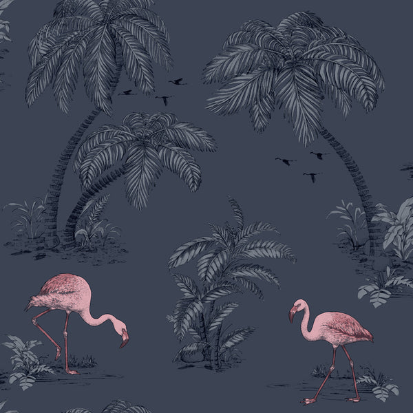 Flamingo Lake Midnight Blue/Pink
