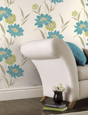 41112 Amala is a beautiful Teal / Green Floral Wallpaper from Holden Decor