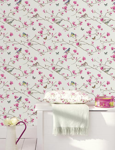 41600 Dhara is a beautiful White / Pink Bird Wallpaper from Holden Decor