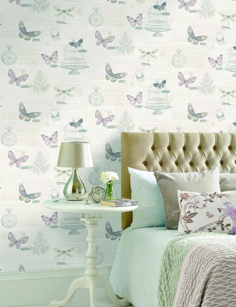 49048 Marisela is a beautiful Pink Butterfly Wallpaper from Holden Decor