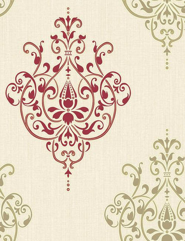 75476 Cassandra is a beautiful Red / Cream Motif Blown Wallpaper from Holden Decor