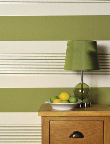 75491 Akina Stripe is a beautiful Green / Cream Stripe Blown Wallpaper from Holden Decor