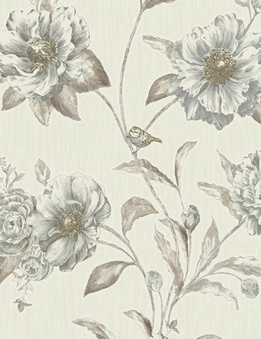 75710 Adela is a beautiful Beige Floral Blown Wallpaper from Holden Decor