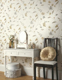 75753 Avonlea is a beautiful Neutral Floral Blown Wallpaper from Holden Decor
