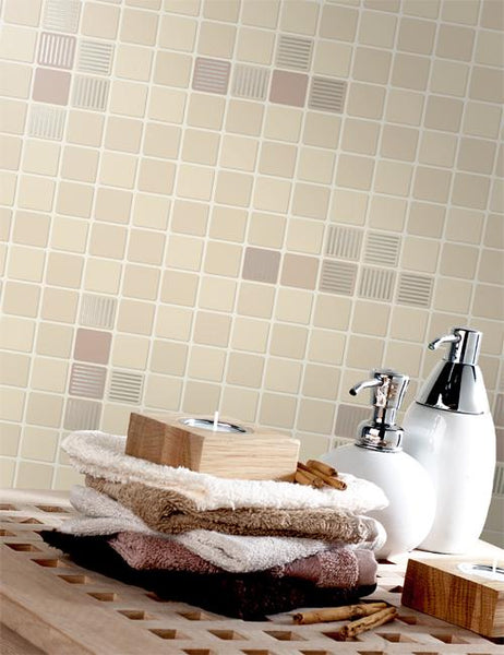89070 Matrix Tile is a beautiful Beige Tile Effect Blown Wallpaper from Holden Decor