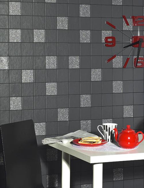 89130 Granite Tile is a beautiful Black Tile Effect Blown Wallpaper from Holden Decor