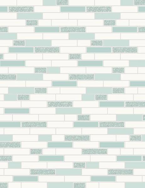89190 Oblong Granite is a beautiful Teal / Silver Tile Effect Blown Wallpaper from Holden Decor