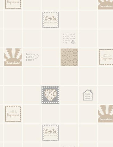 89201 Smile Tile is a beautiful Neutral Tile Effect Blown Wallpaper from Holden Decor