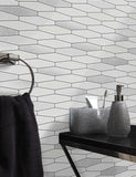 89270 Apex Tile is a beautiful White / Black Tile Effect Blown Wallpaper from Holden Decor