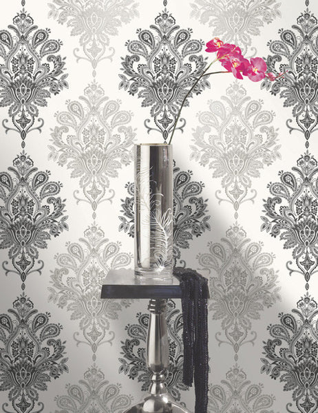 96016 Nikita is a beautiful Silver Damask Wallpaper from Holden Decor