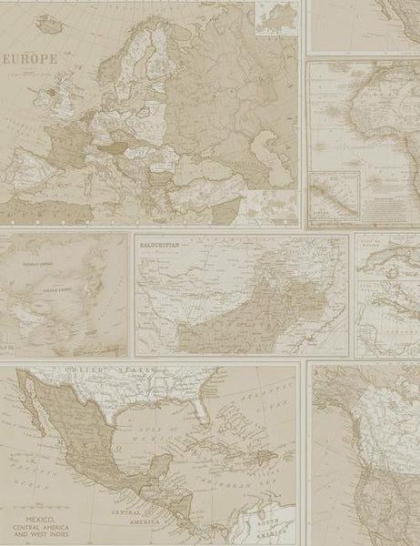 98270 Globetrotter is a beautiful Neutral Map Wallpaper from Holden Decor
