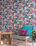 98401 Madagascar is a beautiful Teal Floral Wallpaper from Holden Decor