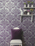 98413 Bengal is a beautiful Purple Damask Wallpaper from Holden Decor