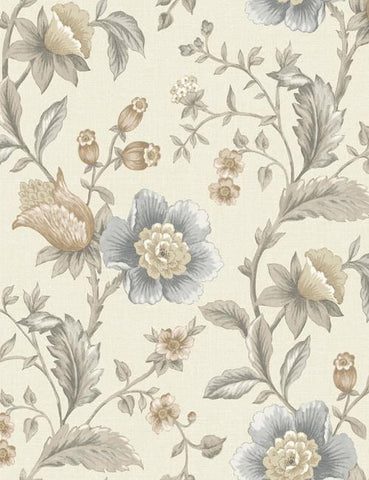 98550 Zinnia is a beautiful Cream / Grey Floral Wallpaper from Holden Decor