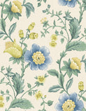 98552 Zinnia is a beautiful Cream / Blue Floral Wallpaper from Holden Decor