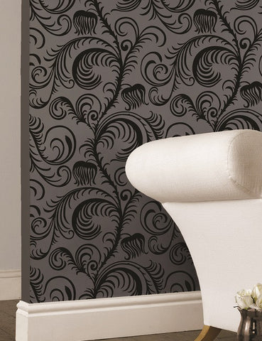 99020 Paradiso Flock is a beautiful Black Floral Flock Wallpaper from Holden Decor