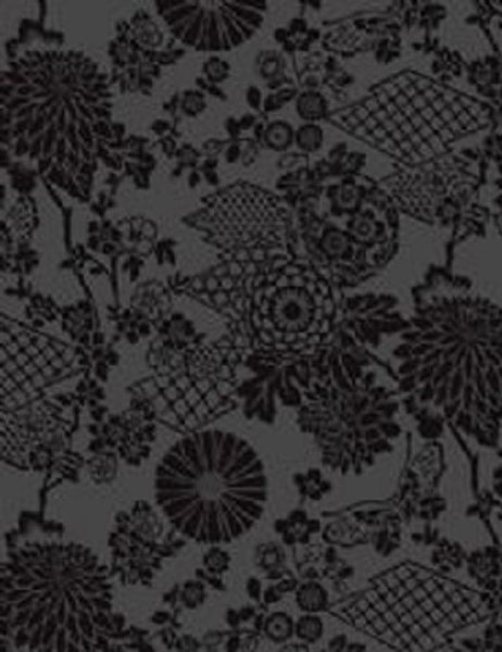 99033 Geisha Flock is a beautiful Black Floral Flock Wallpaper from Holden Decor