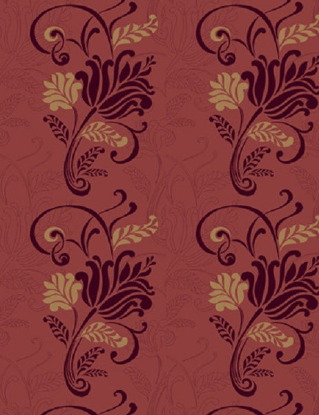 99079 Magdelena Flock is a beautiful Red Floral Flock Wallpaper from Holden Decor