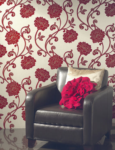 99150 Alanis is a beautiful Red Floral Flock Wallpaper from Holden Decor