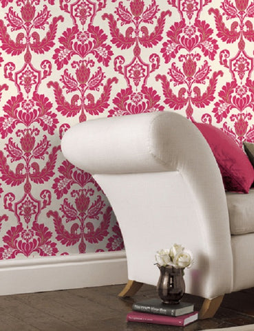 99200 Cicely Flock is a beautiful Pink Damask Flock Wallpaper from Holden Decor