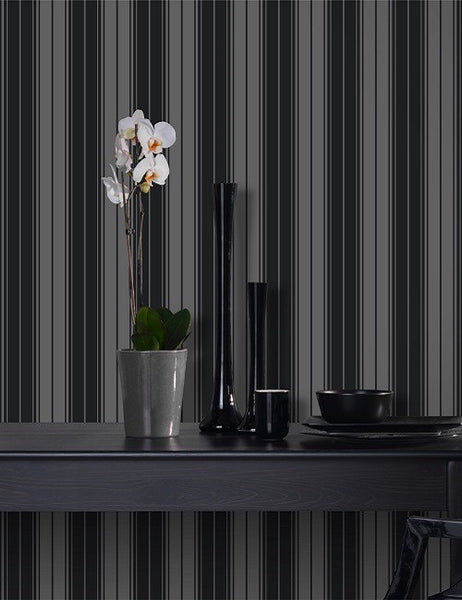 99300 Clara Stripe Flock is a beautiful Black Stripe Flock Wallpaper from Holden Decor