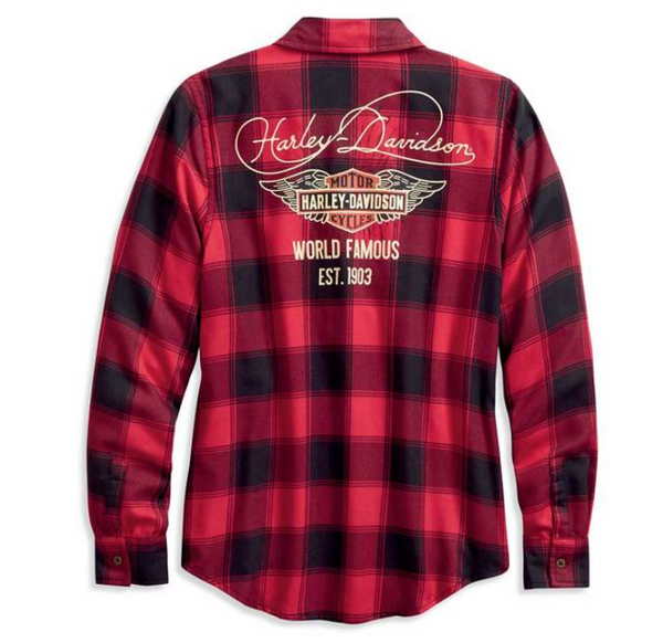 Harley Davidson Women's World Famous Plaid Long Sleeve Shirt 96168-20VW