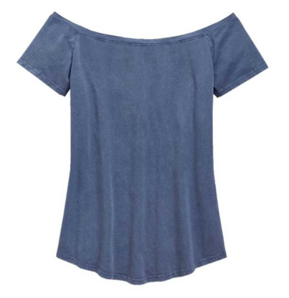 Harley Davidson Women's Winged Cross Wide Neckline Tee - Blue 96817-19VW