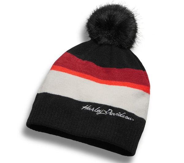 Harley Davidson Women's Striped Pom Knit Hat