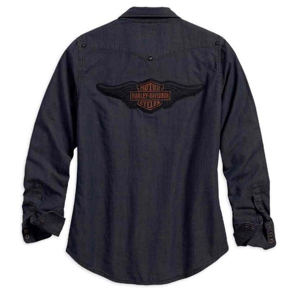 Harley Davidson Women's Studded Yoke Long Sleeve Shirt