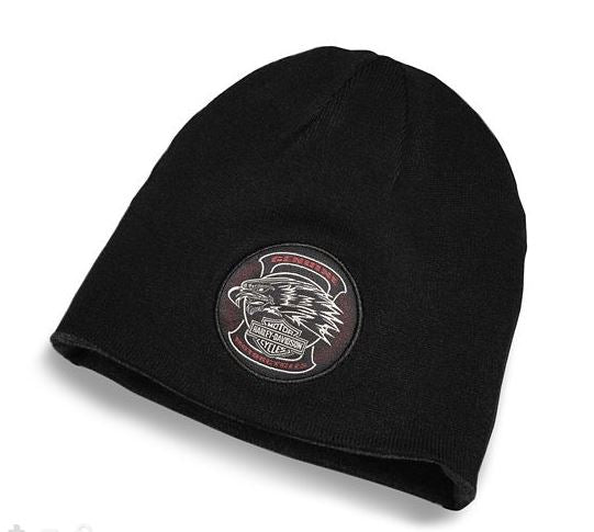 Harley Davidson Men's Reversible Eagle Patch Knit Hat