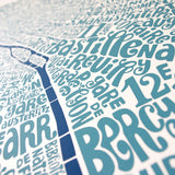 Map of Paris blue/dark blue, Ursula Hitz - CultureLabel - 2 (close up at angle)