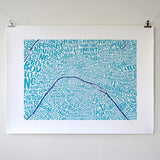 Map of Paris blue/dark blue, Ursula Hitz - CultureLabel - 3 (hung)