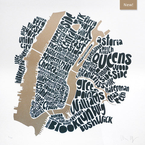 Map of NYC - gold/anthracite, Ursula Hitz - CultureLabel - 1 (full image)