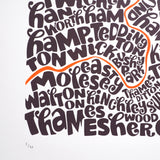 Map of Greater London neon orange/bark, Ursula Hitz - CultureLabel - 5 (crop- bottom left)