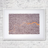 Map of Greater London neon orange/bark, Ursula Hitz - CultureLabel - 3 (framed)