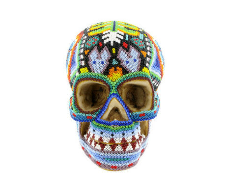 Huichol Indian Art Skull, The British Museum - CultureLabel - 1 (front view)
