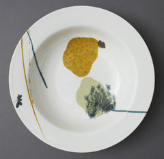 Plantain Grass Wild Carrot on Marigold Bed China Serving Dish.