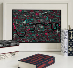 Literary London Map (Red & Green), Run For The Hills Alternate View
