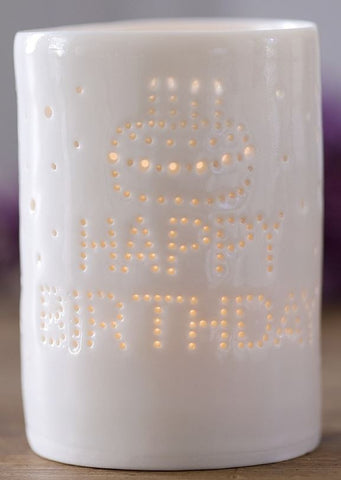 Happy Birthday Maxi Tealight Holder, Luna Lighting - CultureLabel