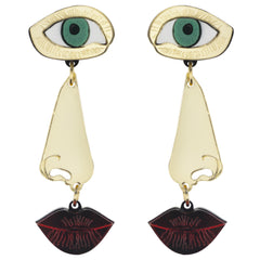 Eye, Nose and Lips Earrings, National Portrait Gallery