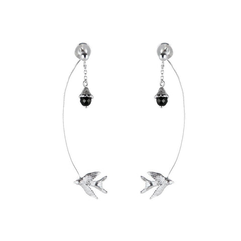 Silver Swallow Flower Earrings, Roz Buehrlen - CultureLabel - 1